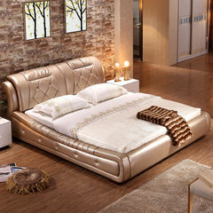 Double bed bed mattress brand leather leather wedding bed simple modern bed 1.8 meters 1.5 meters of furniture 1500mm*2000mm Dermal layer of head Frame structure
