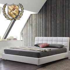 The first layer of leather bed Nordic modern minimalist 1.5 1.8 meters storage leather bed double bed 1500mm*1900mm White (without mattress) Air pressure structure