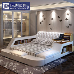 Leather bed tatami bed double bed 1.8 meters leather leather wedding bed bed multifunctional storage bed 1500mm*2000mm Ultimate +3D latex mattress Air pressure structure