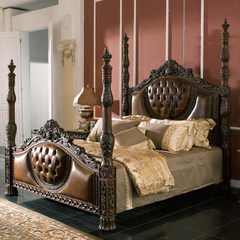 American style solid wood bed bedroom, 1.8 meter double bed, leather bed, retro carved master bedroom, European style soft bed, marriage bed 1800mm*2000mm Factory professional customization Frame structure