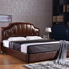 Antelope color American country leather bed retro 1.5 meters double bed bed Zhuwo tatami storage bed 1500mm*2000mm Leather bed +2 bedside table + mattress Frame structure
