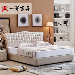 First class furniture, modern simple leather double bed, 1.8 meter bedroom bed, Nordic small apartment, leather bed, marriage bed 1500mm*2000mm B light champagne Frame structure