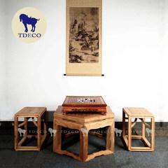 新中式家具、免漆榆木六角茶几、六方茶几、茶几、六足劈料大禅凳 整装 古铜色螺丝安装