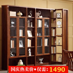 Chinese wood bookcase bookshelf with a locker door corner free combination of black walnut zingana wood color simple bookcase Four door bookcase 0.8-1 meters wide