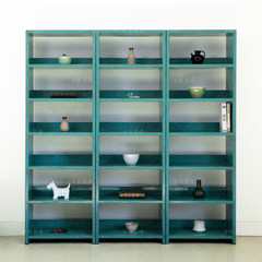 Ancient color paint, color made old modern solid wood simple, five layer shelf shelf, bookshelf floor living room, study furniture Picture blue do old
