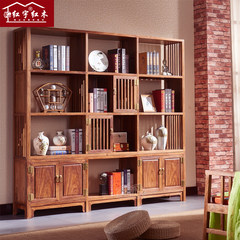 Chinese style bookcase bookshelf Hongyu bookcase mahogany red sandalwood hedgehog study simple modern rosewood bookcase New Chinese bookshelf More than 1.4 meters wide