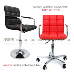Jiangsu Zhejiang Shanghai Post fashionable computer chair, office wine desk chair, leisure chair, armrest lifting Genuine leather Steel foot Fixed armrest