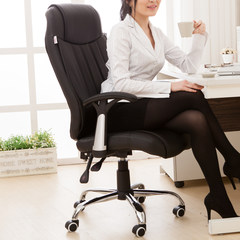 Can lay computer chair leather office chair seat stool boss chair swivel chair, chair of home study fashion Beige white Steel foot Fixed armrest