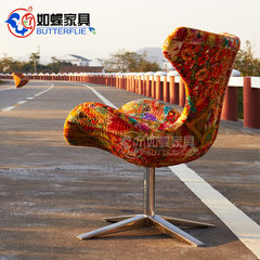 Such as butterfly wings Tianyi furniture chair chair computer chair office chair lifting net chair swivel chair household cloth wings Handmade embroidered wing chair Steel foot No handrail