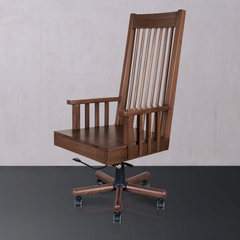 With Bilin black walnut wood simple modern boss chair office computer chair wooden chair bag mail room North American black walnut Solid wood feet Fixed armrest