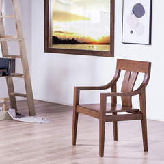 With Bilin North American black walnut library book chair computer chair of modern Chinese wooden armchair Black walnut of North America Solid wood feet Fixed armrest