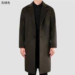 Male winter jacket windbreaker 2017 new Korean hair stylist wool coat lapel gown fashion Cloak 2XL Deep blue plus cotton