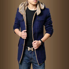 Couples dress wool coat and slim woolen coat thickened in England in autumn and winter long coat wet clothes S Army green