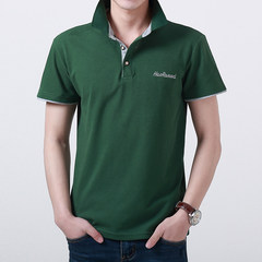 AFS JEEP pure cotton short sleeve T-shirt, men's field jeep, men's Lapel stripe, summer loose big size POLO shirt XL about 145-160 catties Green A16003 paragraph