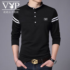 Autumn color Mens Long Sleeve T-Shirt dandy VIP Korean male Polo Shirt Mens Fashion slim collar 2XL Playboy VIP 7723 red