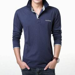 Autumn men's long sleeved T-shirt, young men's Lapel men's wear, collar big size polo shirt, thin collar, T-shirt tide 3XL Orange black collar