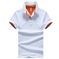 Every day special summer short sleeved men's T-shirt, youth shirt collar POLO shirt, casual short sleeved clothes, summer T-shirt 3XL White + Orange