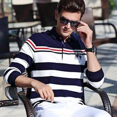 Autumn stripe yarndyed thickened long sleeved t XL MENS SHIRT Paul Lycra cotton T-shirt Lapel long sleeved POLO shirt Shipment within 48 hours 91 white