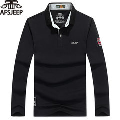 Jeep Jeep Mens Long Sleeved T-shirt, men's lapel, pure cotton new youth polo shirt, men's big size loose base shirt 3XL black