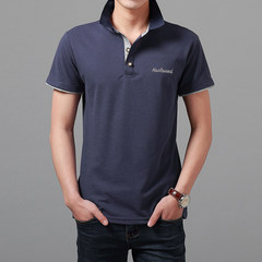 2017 autumn sweater long sleeved T-shirt mercerized cotton slim collar XL Polo Shirt Mens T-shirt man Chao embroidery M HT125 black plus fine wool