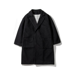 @ Aberdeen autumn literary men men long coat Korean couple woolen coat fashion coat in winter S black