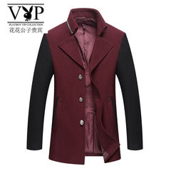 Winter winter coat Korean slim type male cashmere with thickened in the long wool coat woolen coat youth tide 3XL Dark grey