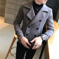 Double breasted plaid coat winter male short slim British woolen coat coat handsome fashion. 3XL Green Grid