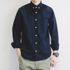 GBOY spring trend shirt, male Japanese youth, pure color casual loose sleeve shirt, male students wearing outer coat M Tibet Navy
