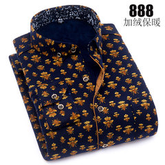 Autumn man warm shirt plus cashmere thickening, self-cultivation of middle-aged and elderly long sleeves printed Plaid casual clothes, warm shirts 39/M Orange
