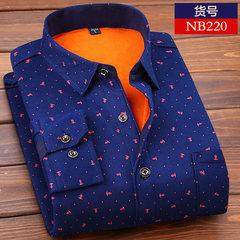 Middle aged men's Plaid business leisure printing, plush thickening, long sleeved shirt, fashion big size shirt Free trial NB220