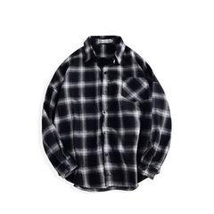Men's loose Plaid Shirt coat, autumn long sleeve leisure student blouse, Korean red men's shirt trend S Black velvet