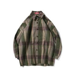 @ Hong Kong, male, literature and art, 17 autumn outfit, new Korean wool, loose long sleeve shirt, men's casual Plaid Shirt coat M green