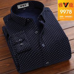 Yalu warm winter shirt sleeve to add thick velvet stamp with hair youth leisure middle-aged father put a shirt Thirty-eight Nine thousand nine hundred and seventy-eight