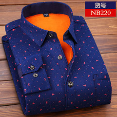 Autumn and winter men's warm shirts, middle-aged Plaid long sleeves, printing, warmth, self-cultivation, men's wear, cashmere, thickening shirt men 3XL NB220