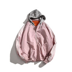 Korean men's loose jacket, baseball suit, ulzzang lovers' Autumn outfit, tide sport jacket 3XL Lilac