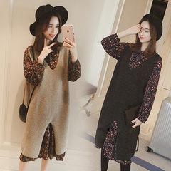 Korean version of the new winter dress Knit Long Vest suspenders skirt two piece Chiffon floral dress suit S Camel