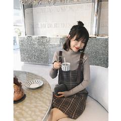 In momo2017 winter and new style straps, retro Plaid Dress, fresh vest skirt, a word skirt, short skirt XS Coffee / presale