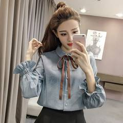 In autumn, Korean fan bows, flared sleeves, shirts, long sleeves, lace UPS, loose, thin stripes, Shirt Girls S Blue [conventional paragraph no cashmere]