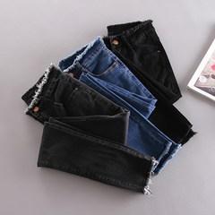 Hong Kong flavor slim elastic denim trousers waist flash smoke grey slim female black jeans pencil pants feet Twenty-five Black trousers