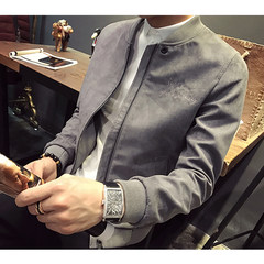 Hitz male Korean youth suede coat slim Jacket Mens all-match Baseball Jacket tide M (suitable for less than 100 Jin) Grey cashmere