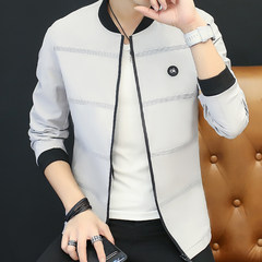 Autumn outfit men's autumn, 2017 new Korean version, trend of self-cultivation, men's jacket, lovers, cashmere, spring and autumn baseball clothes 3XL Grey 8716