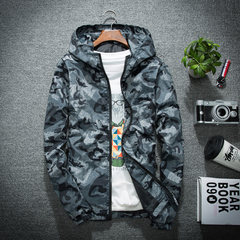 Men's coat, 2017 autumn, new trend of men's fashion, handsome, thin jacket, spring and autumn sports baseball clothes 3XL Gray camouflage