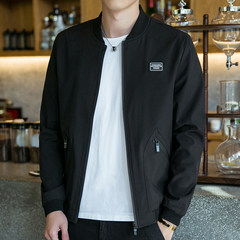 The fall of men's casual jacket to increase fat fat fat baseball uniform jacket jacket men loose code 3XL Black 1709