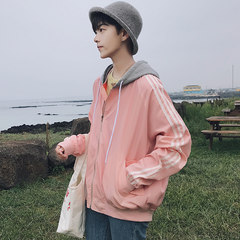 The autumn wind in Hong Kong new classic stripe mosaic all-match loose hooded jacket jacket Korean baseball uniform male students 3XL Lilac