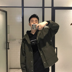 Mr. Fangcun thick twill autumn new Korean large pocket design in the green washed denim jacket autumn S Army green