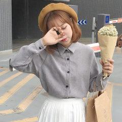 2017 autumn Korean New Women's blouses Harajuku BF wind shirt long sleeved shirt coat color students S gray