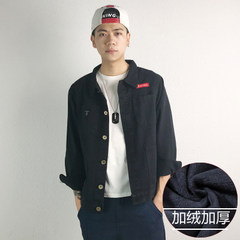 Men's coat, spring and Autumn Edition, trend of students' casual wear jacket, winter denim jeans 2XL Black velvet