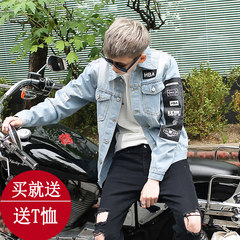 Spring and autumn men thin hole slim casual denim jacket jacket Korean students all-match clothing trend M 805 HBA denim jacket