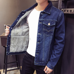 2017 winter denim jacket, men's thickening, Korean style jacket, leisure, warmth, men's cotton clothing trend 3XL Navy Blue
