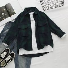 Korean style BF wind retro Long Sleeve Plaid Shirt girl students simple leisure loose Korean big shirt shirt S Blackish green